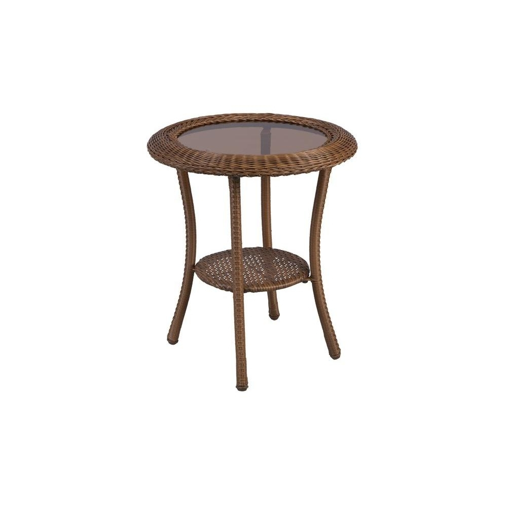 popular patio umbrellas with accent table regarding latest hampton bay spring haven brown all weather wicker round umbrella view purple chair wood sofa end tables mango dining