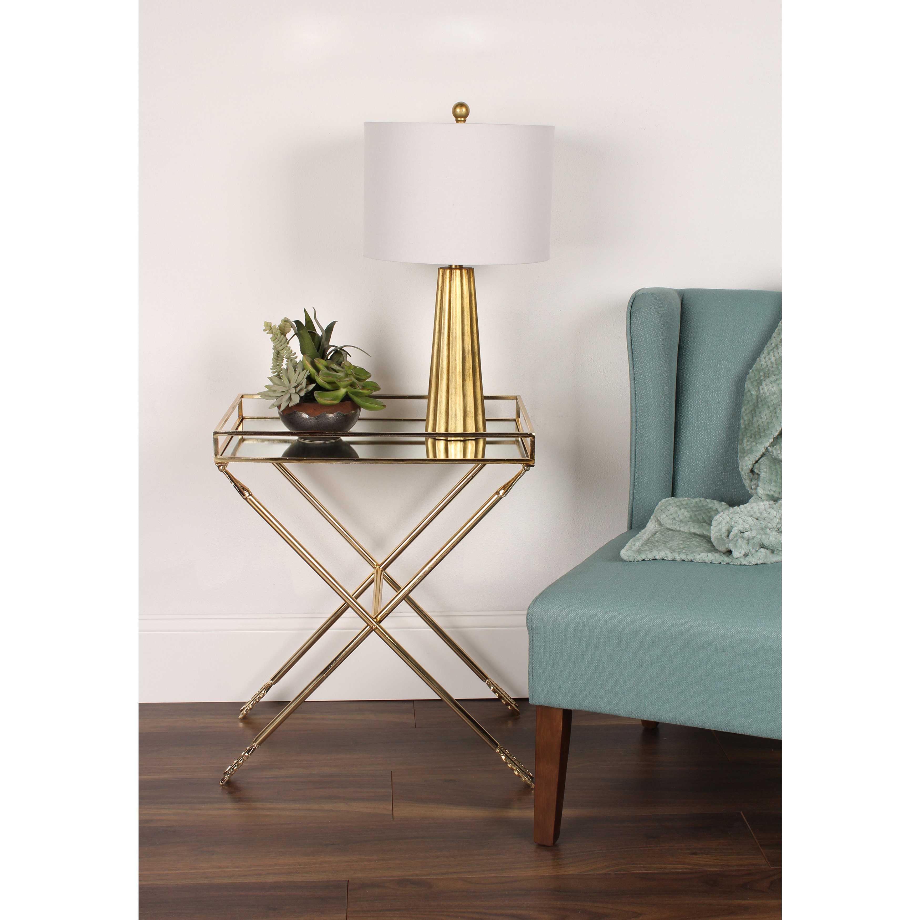 porch den alamo heights viesca arrow metal accent table with tray amp mirrored top ikea bedroom cabinets bedside drawer pier dishes round tile rattan coffee outdoor small black