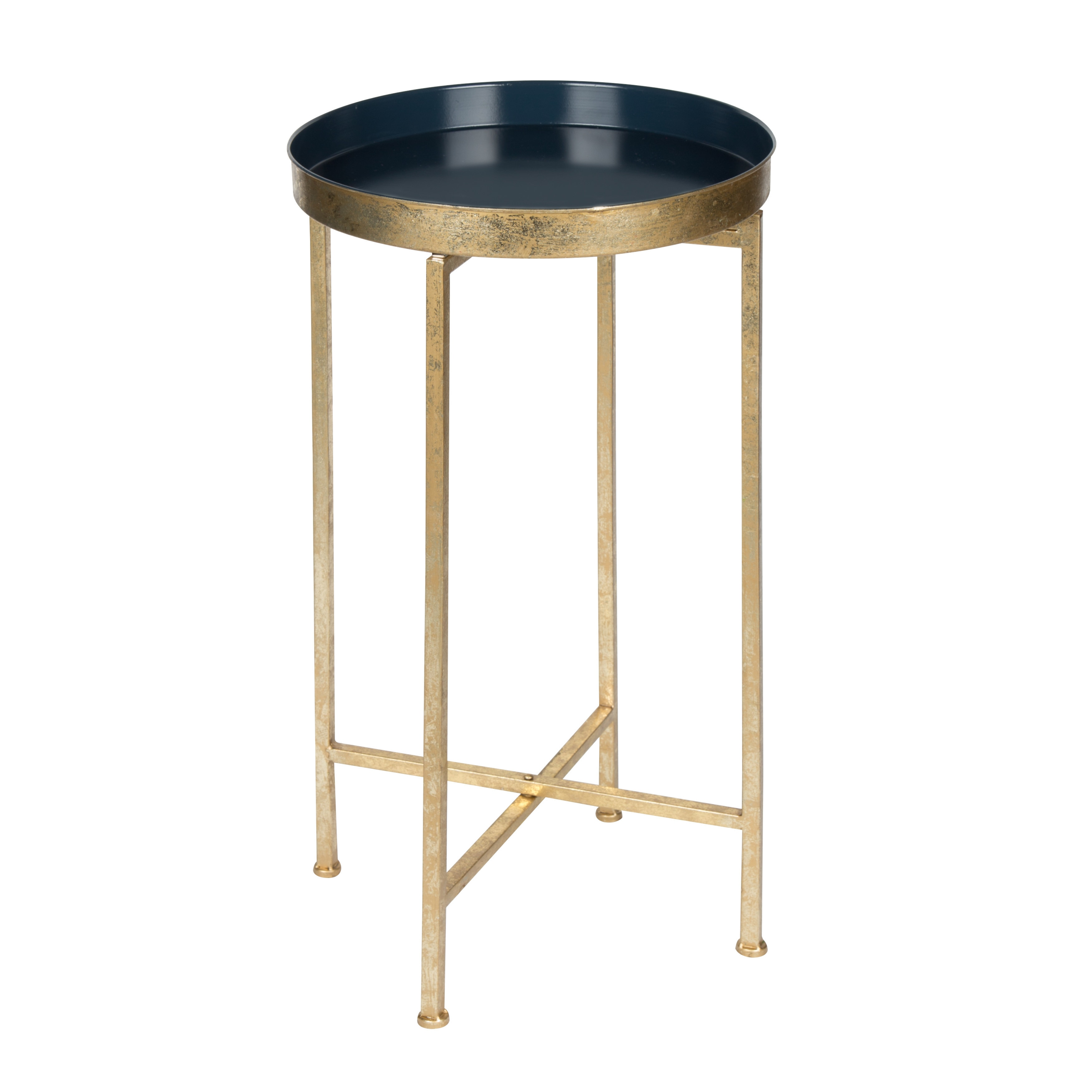 porch den alamo heights zambrano round metal foldable tray accent table grey blue goldtone finish white nightstand world market lamps acrylic side pier one furniture catalog legs