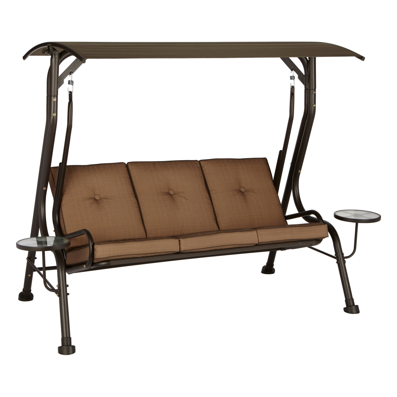 porch swings gliders outdoor and patio hardware swing with side tables living accents steel brown playground set daybed glider cushion covers suncast furniture calgary piece table