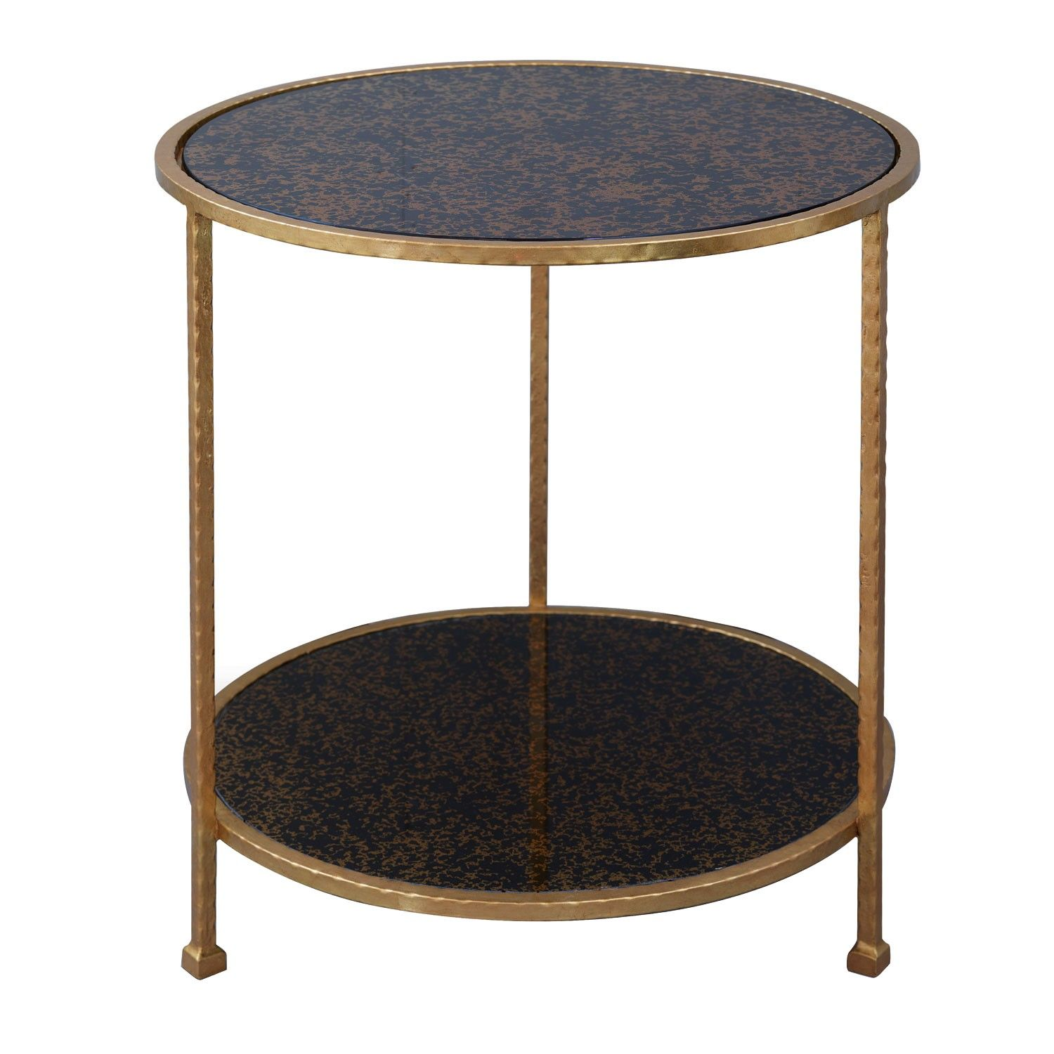 port harper gold table hulme furniture round accent our end use next sofa with lamp between two chairs made leaf cast metal frame features modern crystal lamps rustic gray