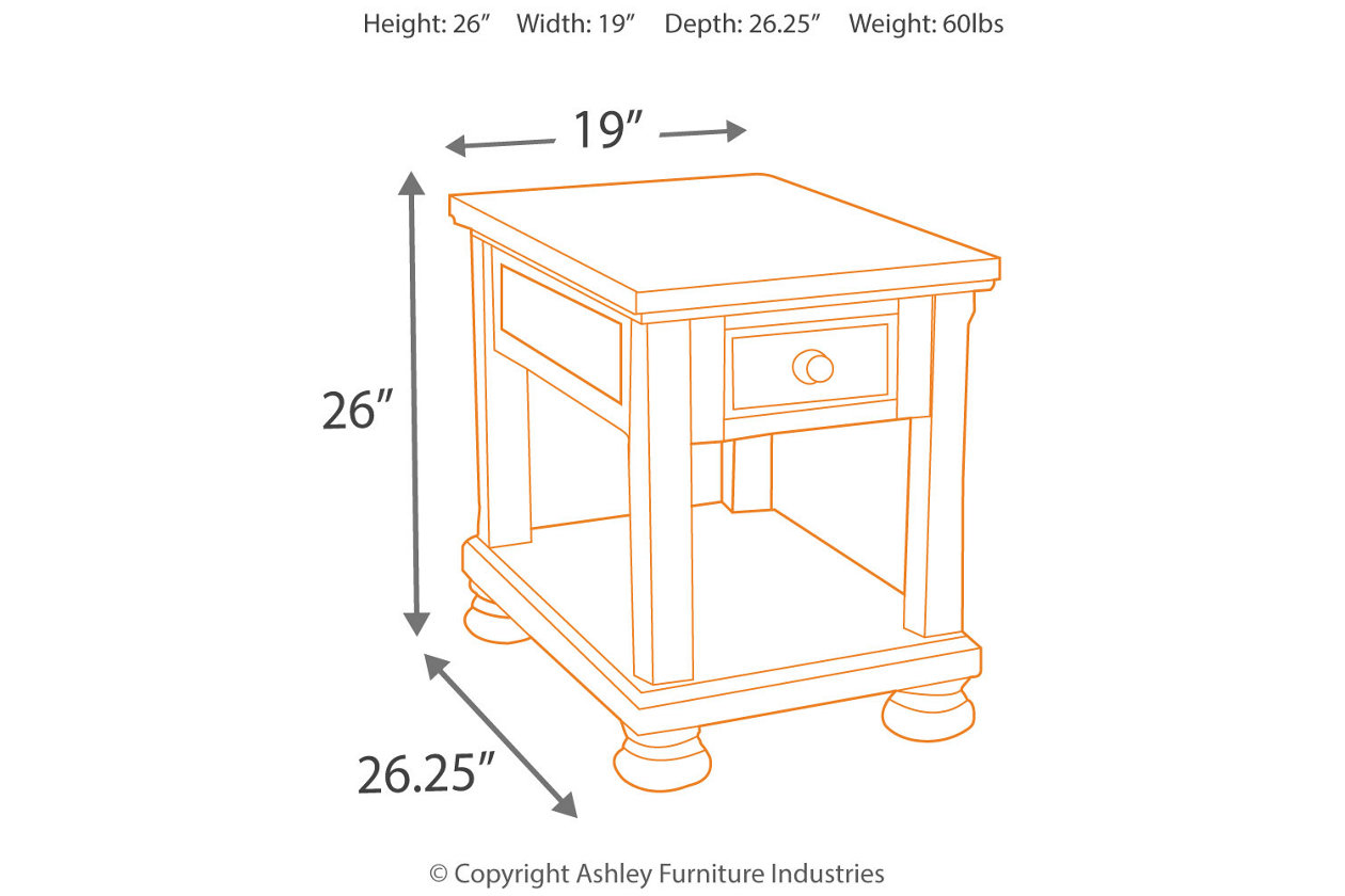 porter chairside end table ashley furniture home dim wood accent five below entryway console circular patio cover hampton bay lawn sectional sofas mosaic bistro set funky tables