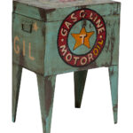 porter designs vintage authentic motor oil ballot box side table main accent all gone wicker storage trunk outdoor iron half circle console furniture village home theater seating 150x150