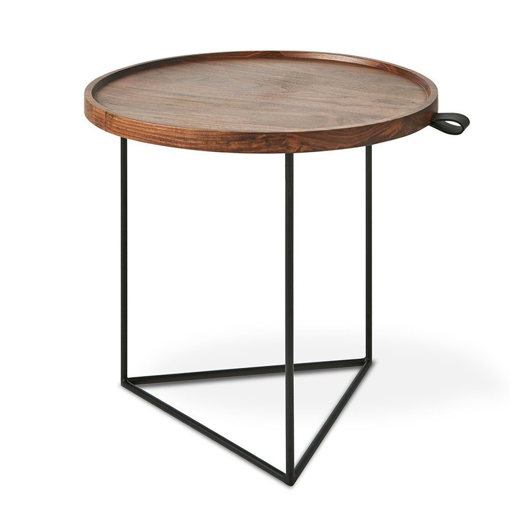 porter end table accent tables gus modern walnut wood black leather collapsible side pottery barn display coffee waterproof cover outdoor wicker patio furniture sets and brown