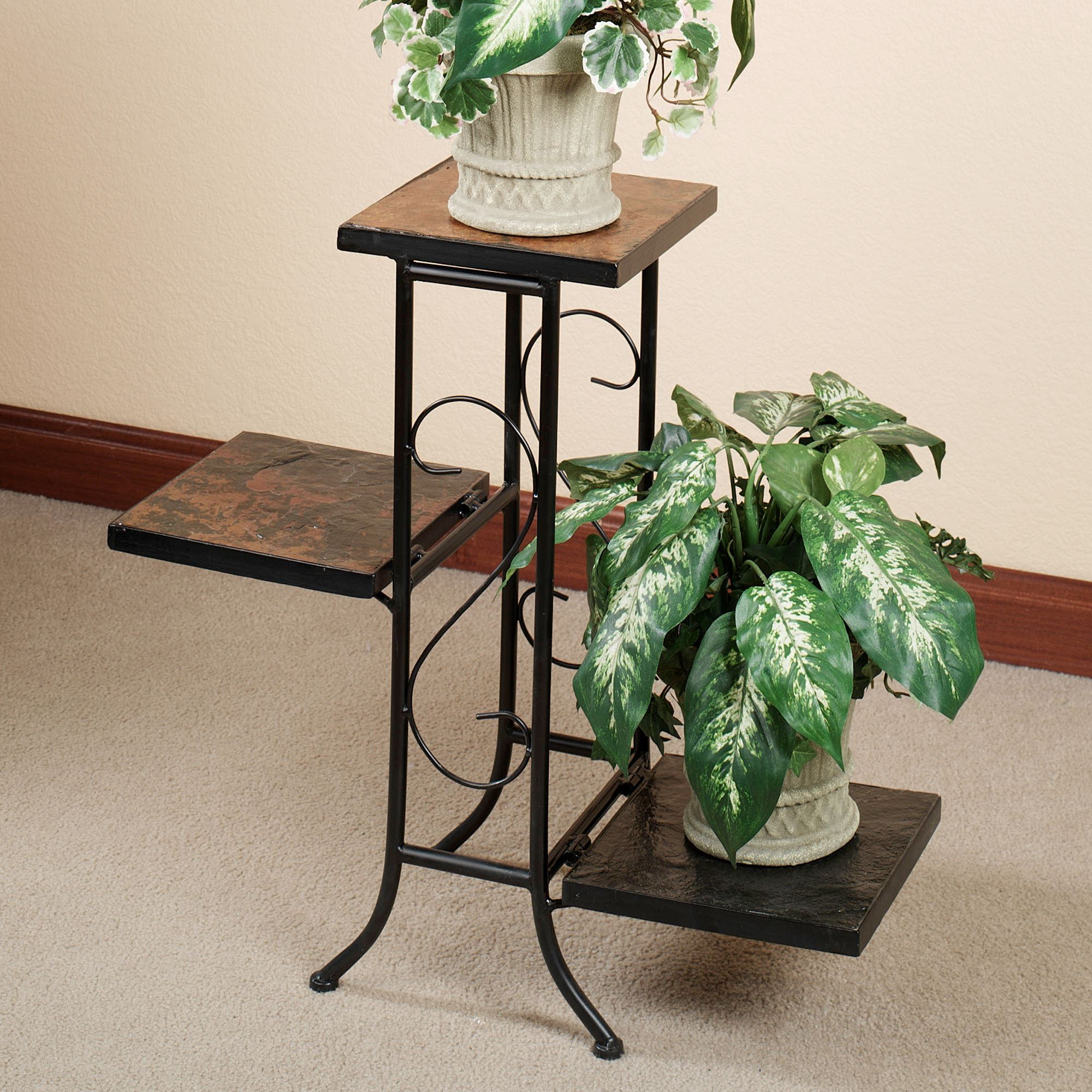 porterville indoor outdoor tiered plant stand accent table black touch zoom drop leaf sofa side clearance office furniture portland vintage dining dale tiffany stained glass lamp