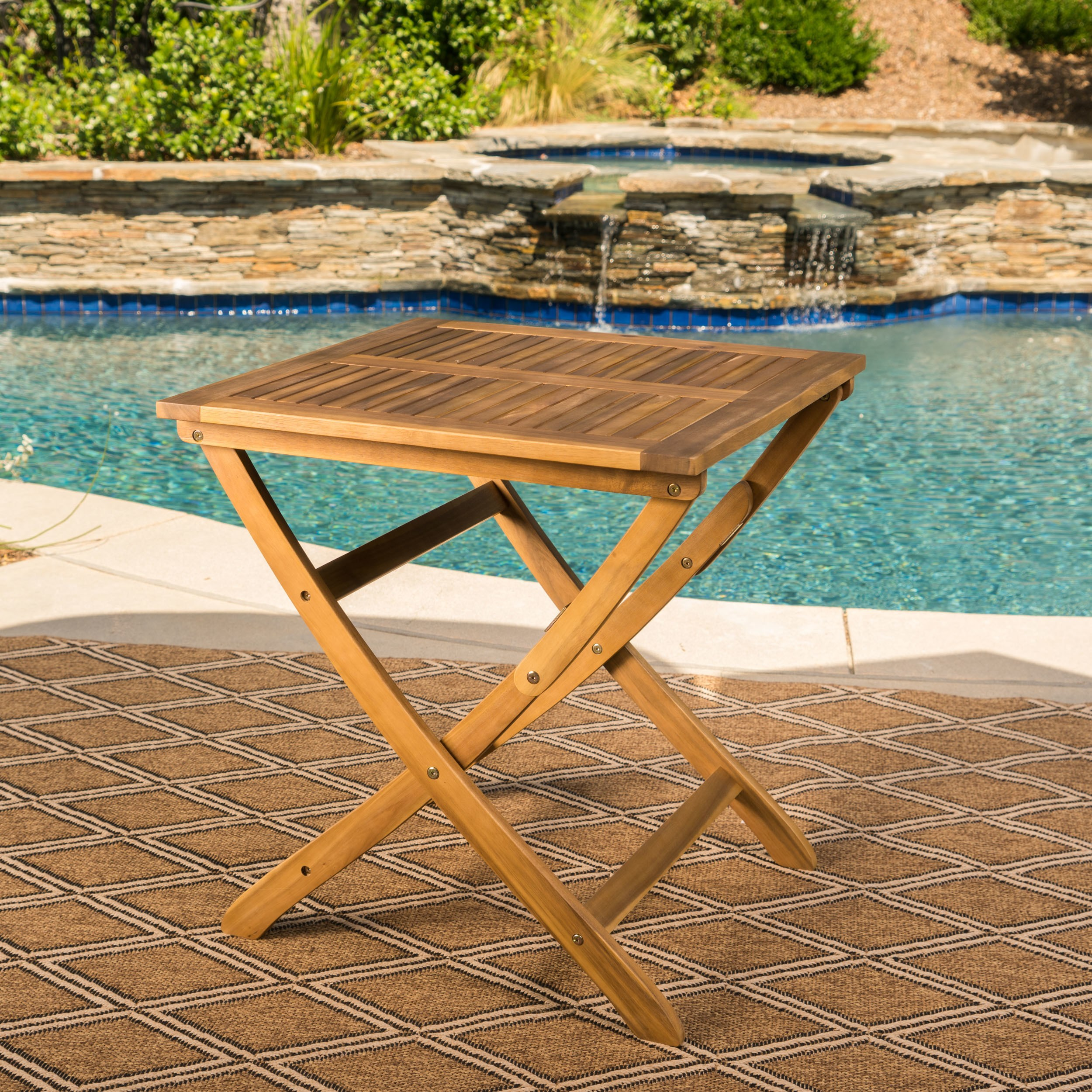 positano outdoor foldable acacia wood side table christopher knight home free shipping today living room lounge chair west elm acorn cherry dining and chairs long centerpieces