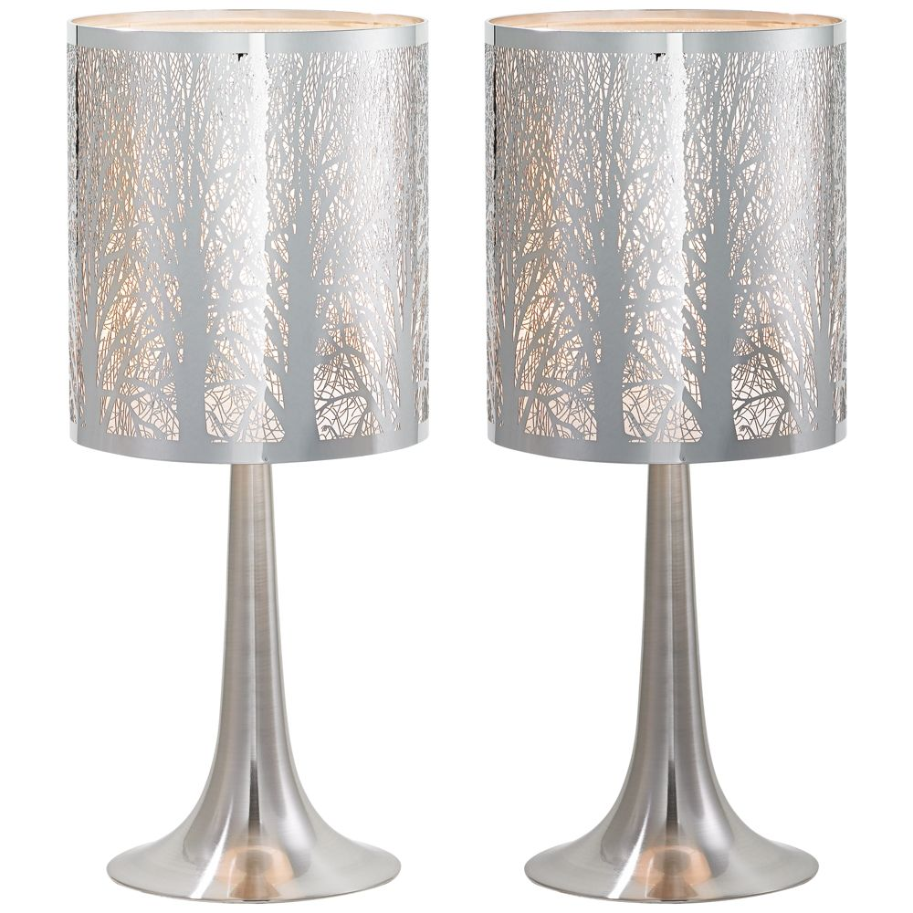 possini euro high laser cut chrome table lamps set heyburn brushed steel accent lamp with usb port style christmas tablecloth round marble top lucite mid century outdoor furniture