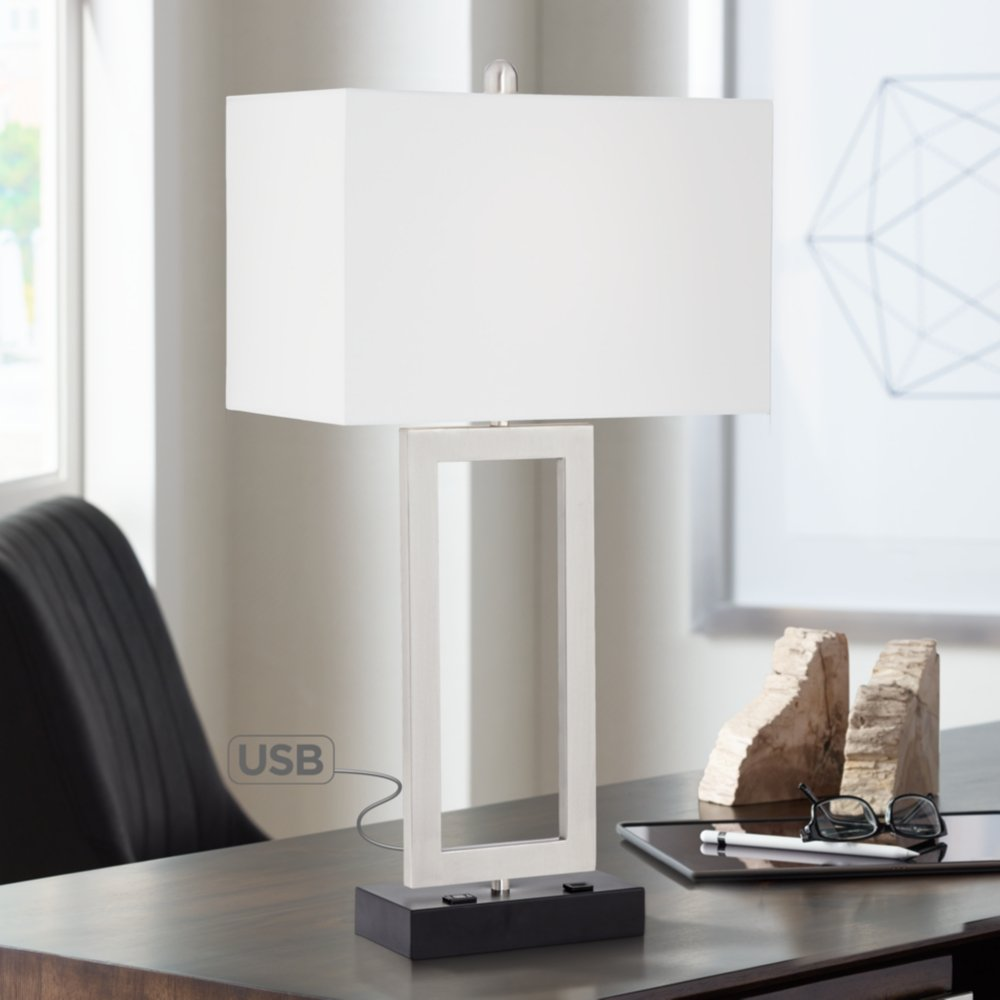 possini euro todd metal table lamp with usb port and heyburn brushed steel accent mission style black perspex coffee threshold teal cabinet modern end tables rope light blue west