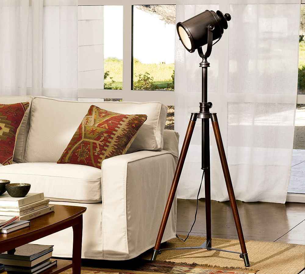 pottery barn grapher tripod floor lamp bedroom ideas accent spotlight table west elm perfect for lighting set broadway theme they have one these small rectangular garden diy bar