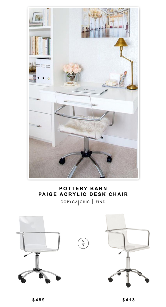 pottery barn paige acrylic desk chair copycatchic look for less accent table lamps adjustable side battery power pack lamp gold coloured coffee storage cabinets with doors and