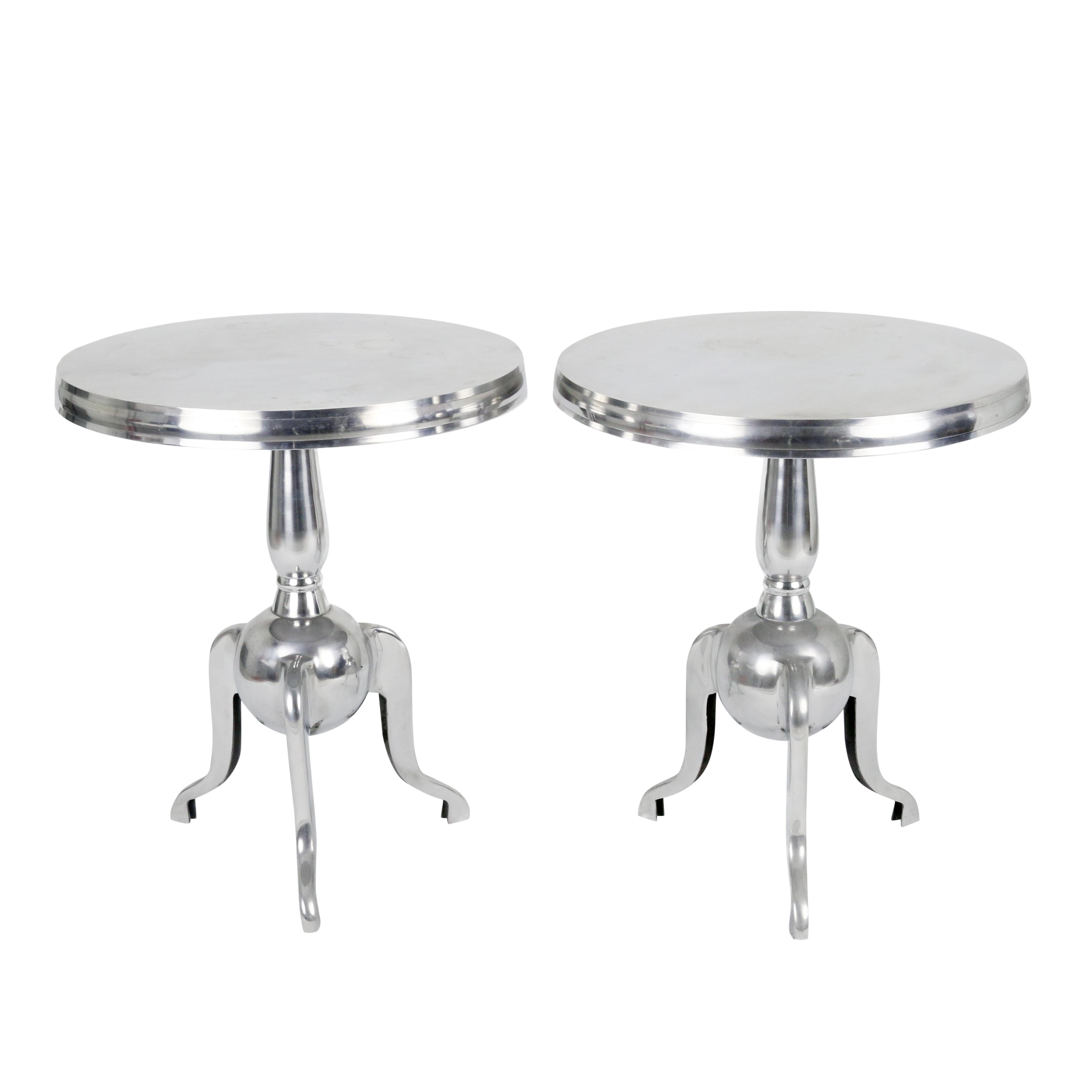 pottery barn silver aluminum pedestal accent tables pair chairish table room essentials trestle round patio cover sofa with stools coffee bases for granite tops outdoor nic