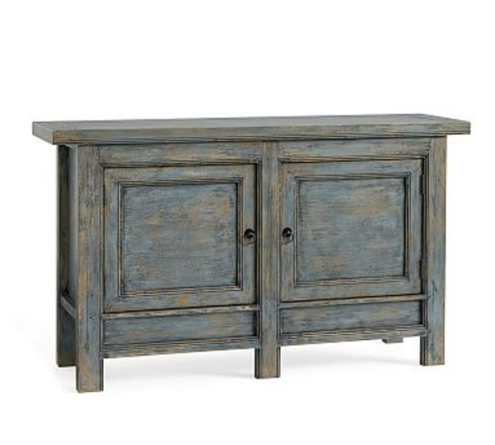 pottery barn spring molucca media console distressed jamie accent table blue wine rack with drawer chestnut pier one imports dining room tables black friday affordable living