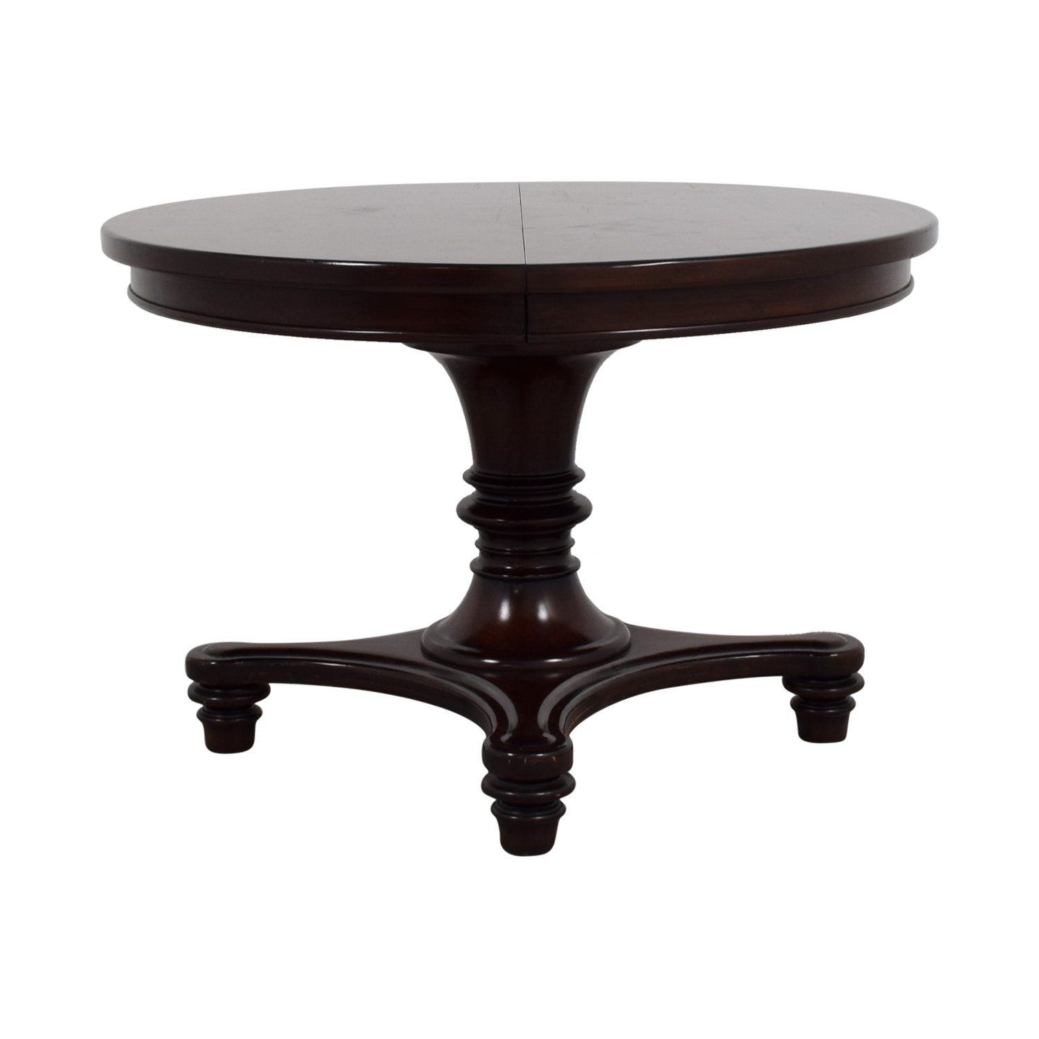 pottery barn sumner round cherry wood table with extension leaf rustic pedestal accent dinner tables king bedroom sets antique dining room centerpieces purple furniture day