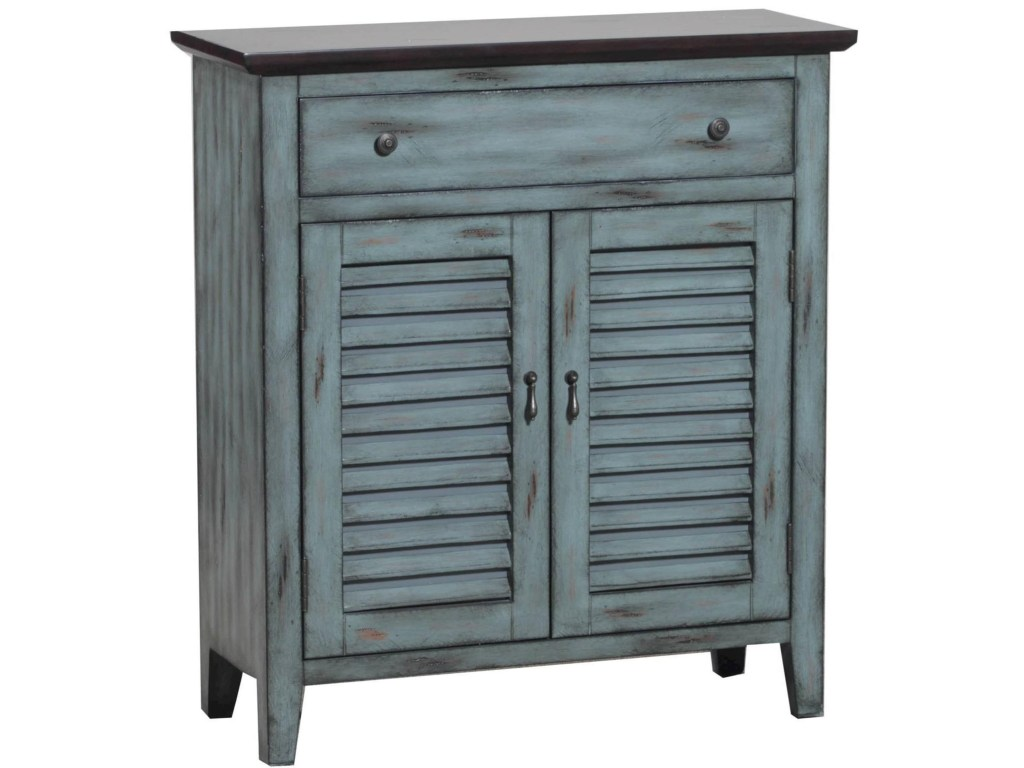 powell accent furniture two tone shutter door cabinet colder products color table between chairs white couch covers checkered tablecloth blue round end lucite acrylic coffee