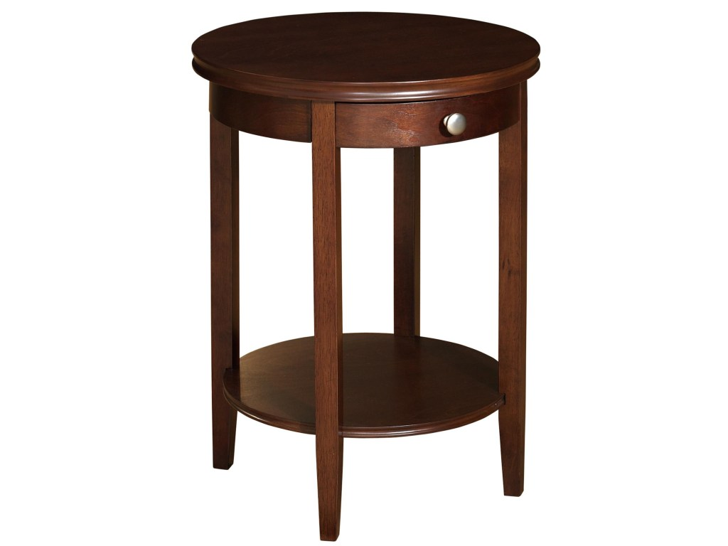 powell shelburne cherry round accent table with one drawer products color kidney shaped coffee west elm ikea wall boxes square plans target corner shelf white patio lamps sydney