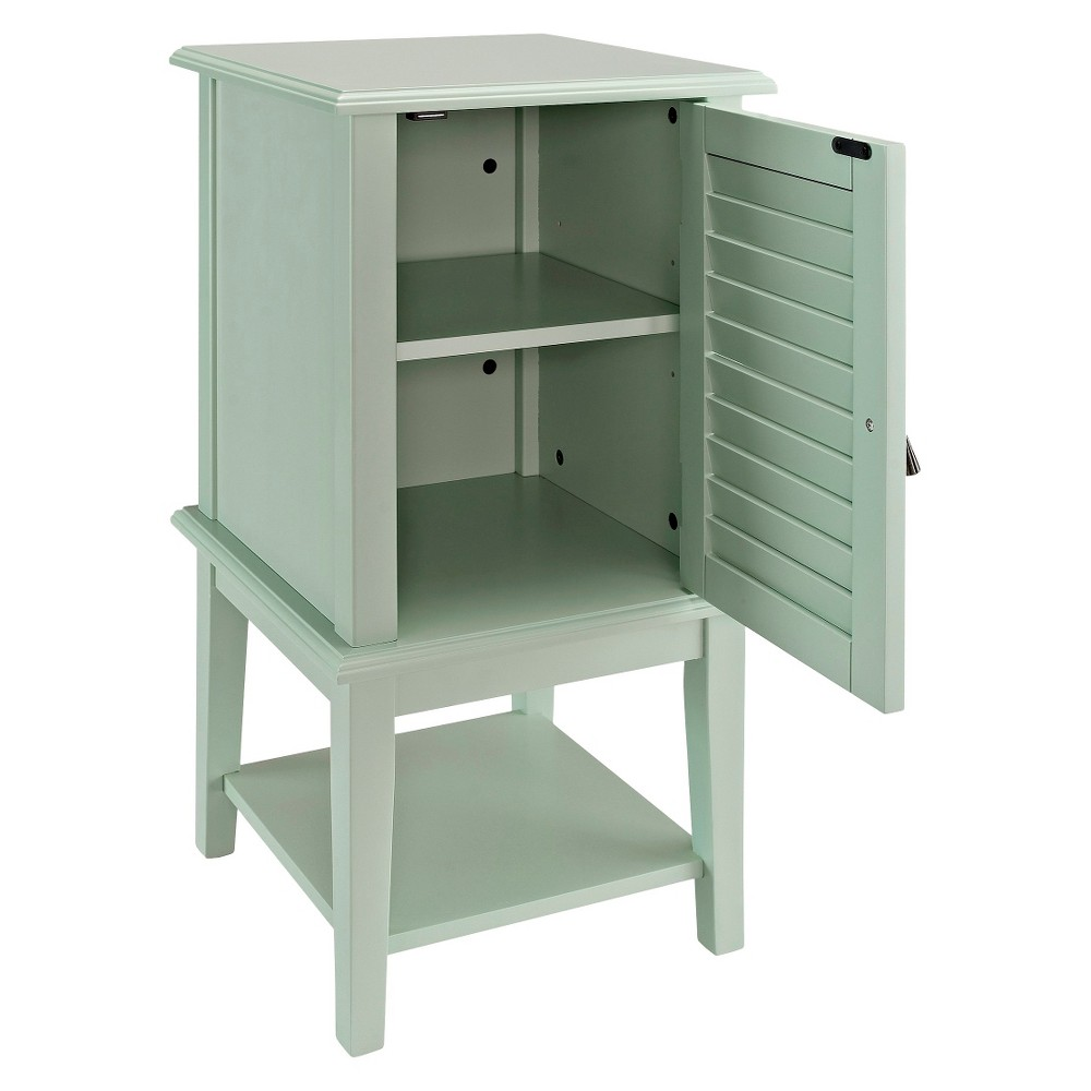 powell shutter door side table aqua blue products accent floor threshold transitions white cloth covers transition printed chairs round outdoor glass top patio dining clearance