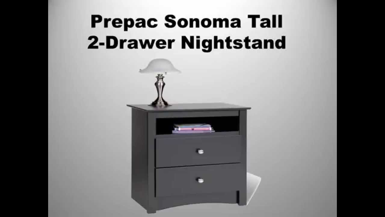 prepac sonoma tall drawer nightstand accent table white yellow decorative accessories round tablecloth bar height walnut coffee outdoor gold home accents little drop leaf set west
