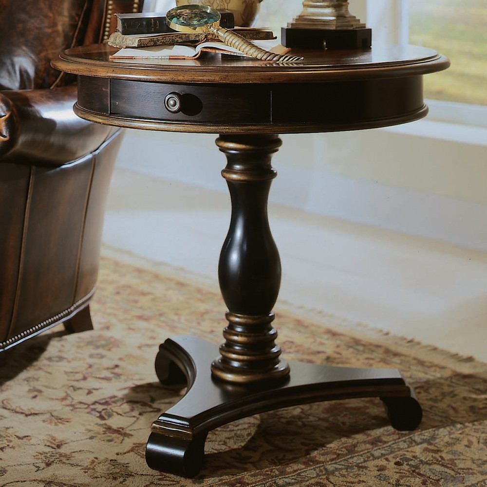 preston ridge wood round pedestal accent table humble abode prestonridge roundpedestalaccenttable hookerfurniture metal and homemade runners blue quilted runner inch rope long