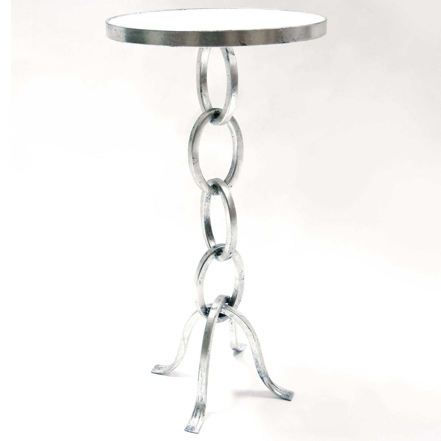 prima design source stacked link accent table silver leaf white marble small half moon butterfly lighting purple placemats and napkins hayden furniture west elm carved wood coffee
