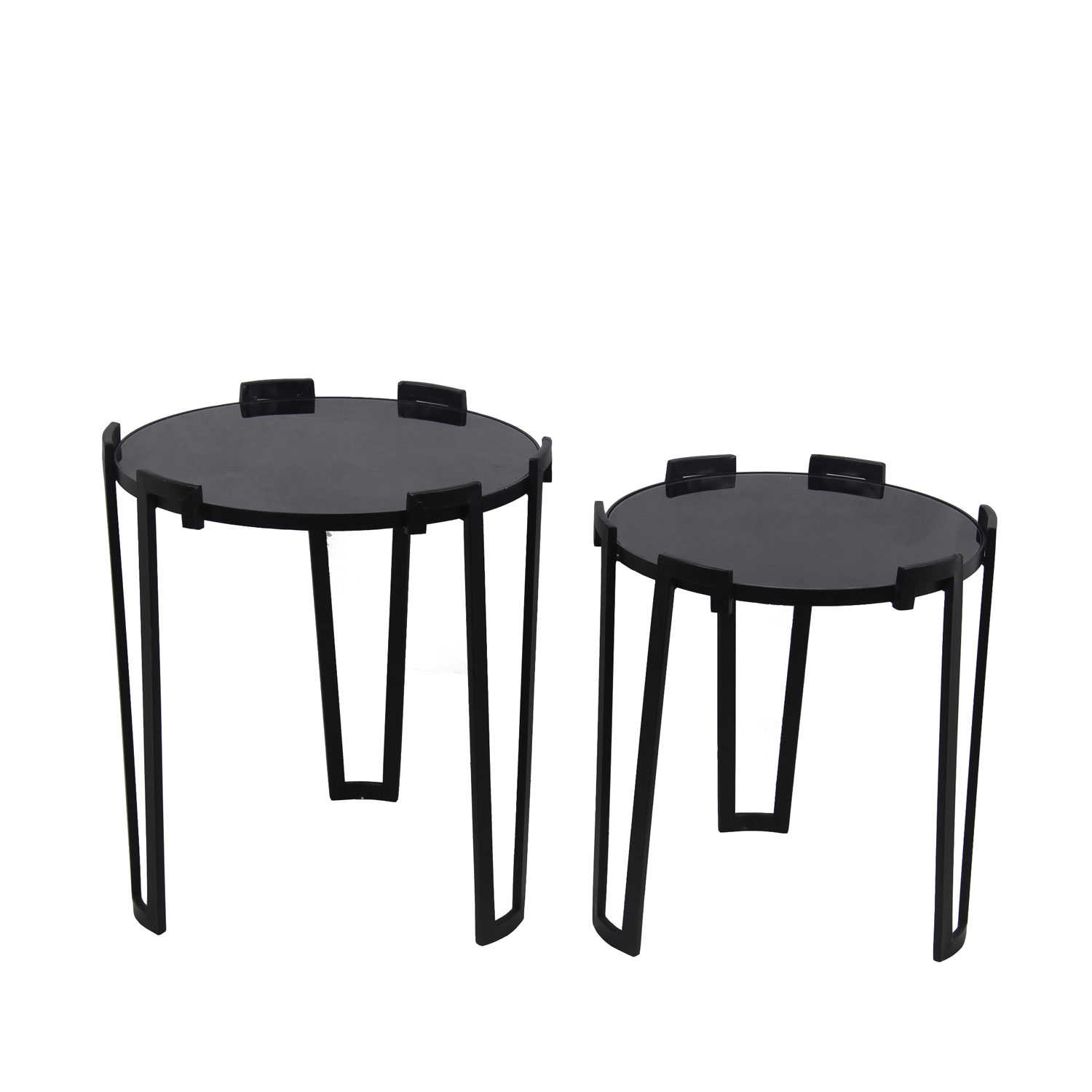privilege black glass two piece accent tables bellacor table hover zoom dressing ornaments floral chair metal furniture bookends target red decor pottery barn round folding coffee