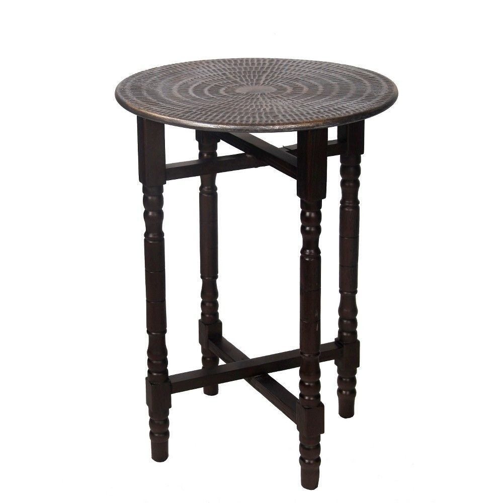 privilege bohemian accent table brown products keru outdoor side for bbq farmhouse coffee and end tables ikea patio tall narrow windham cabinet teal applique runner pottery barn
