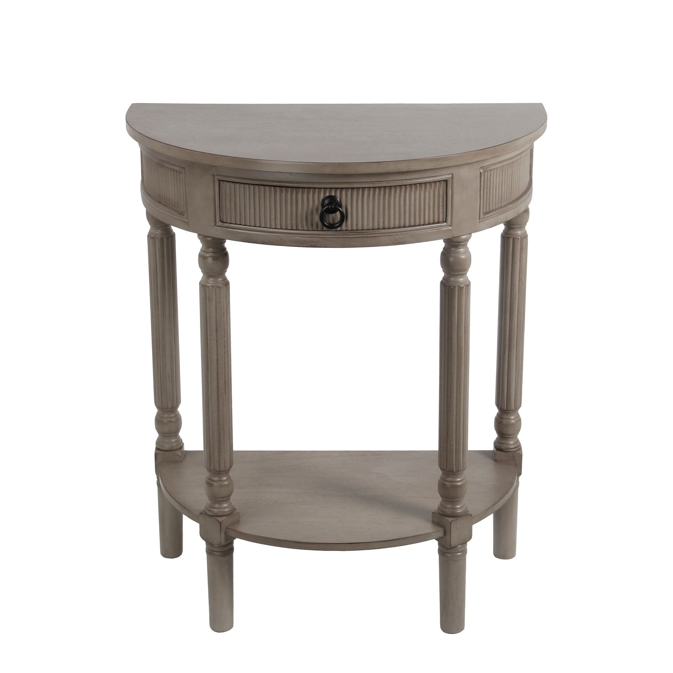 privilege french grey drawer half round table tables accent small black occasional bronze drum coffee bar high dining very white battery operated lamp with timer west elm room for