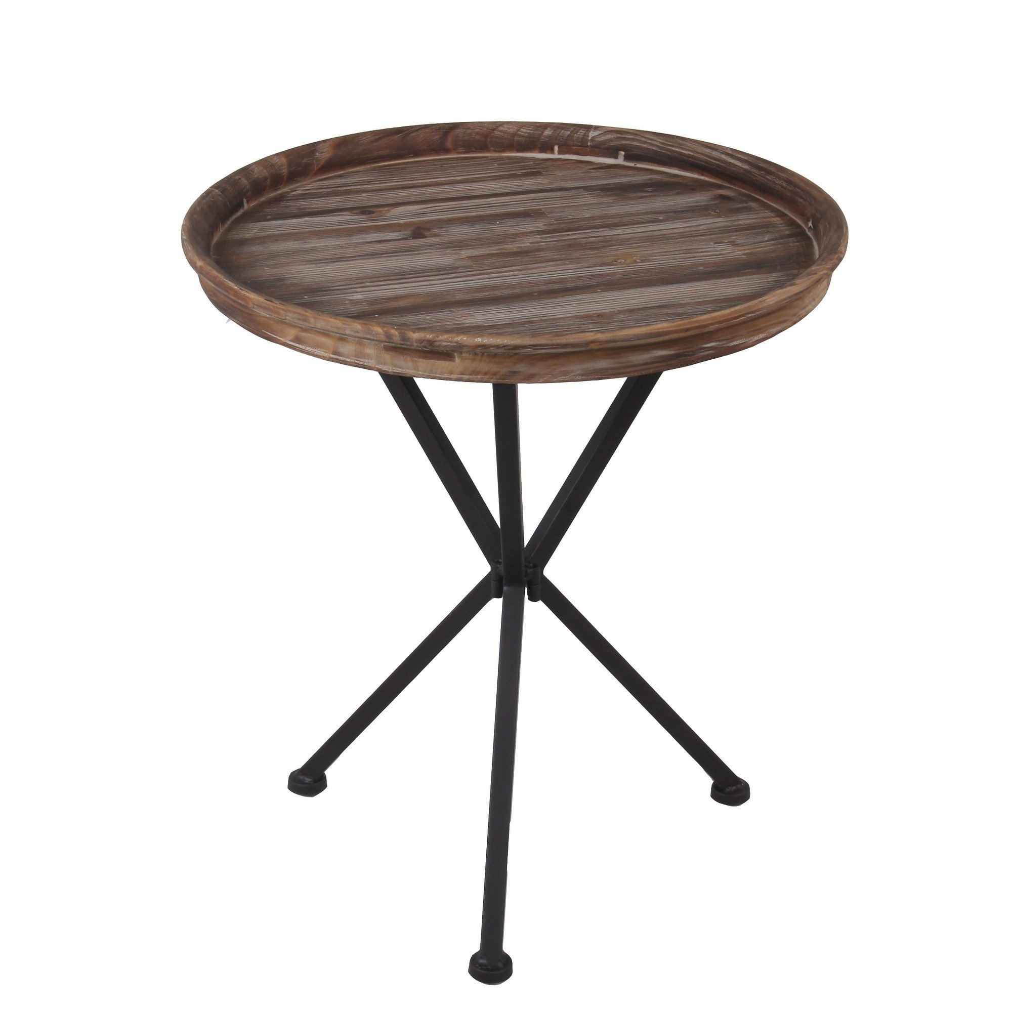 privilege round accent table featuring wood tray top free shipping today console with wine storage ikea bedside drawers black marble set tall bistro and chairs indoor battery