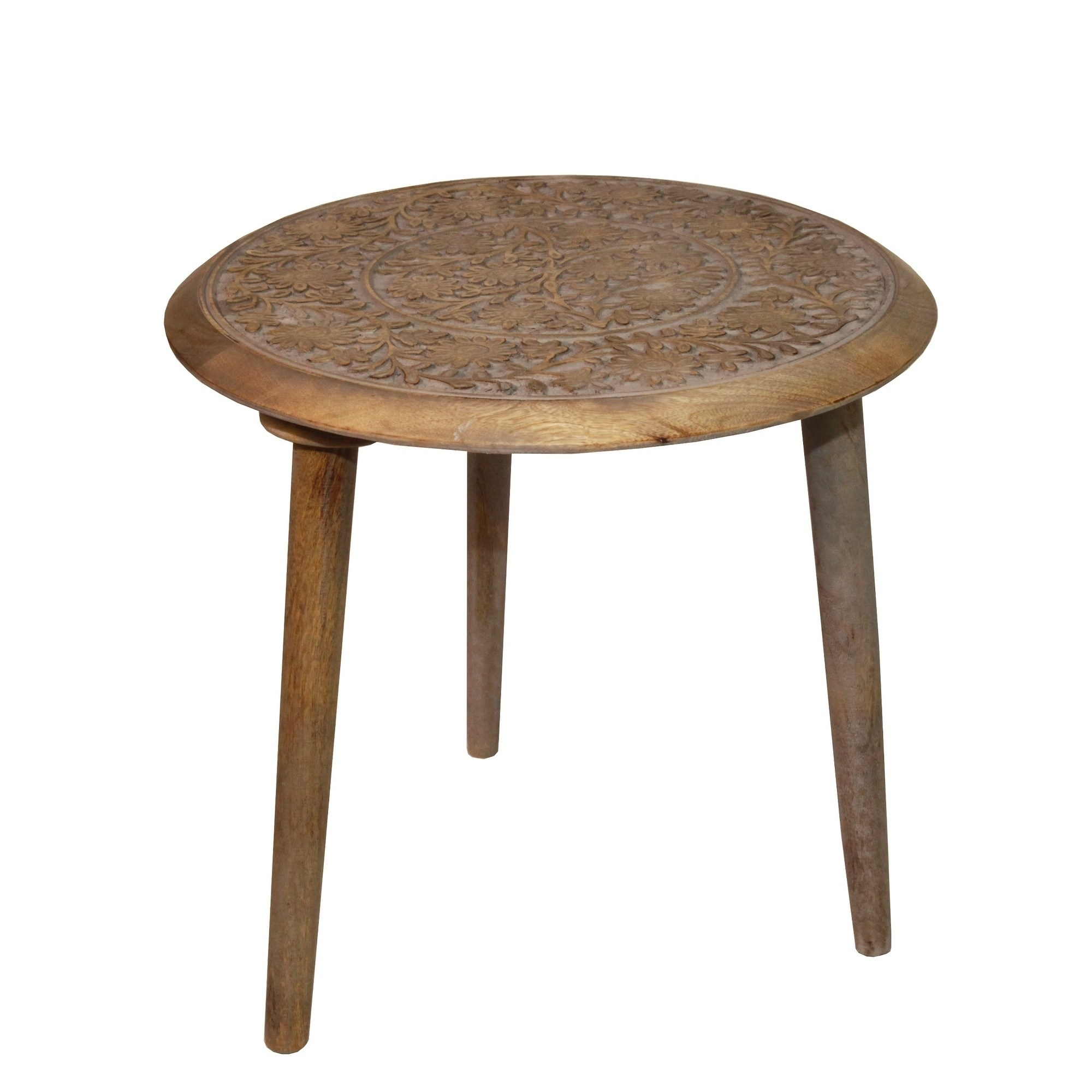 privilege round antique grey wood accent table free shipping gray wooden today extra tall pottery barn frames brown wicker small marble yellow home accents espresso coffee