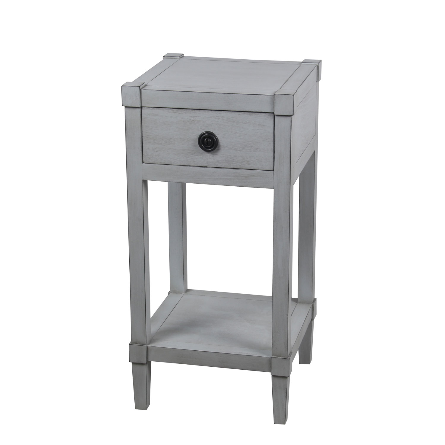 privilege smoke ash one drawer accent table bellacor gray hover zoom narrow hallway console cabinet round cocktail cloths concrete top dining room red wood quilted runners bar