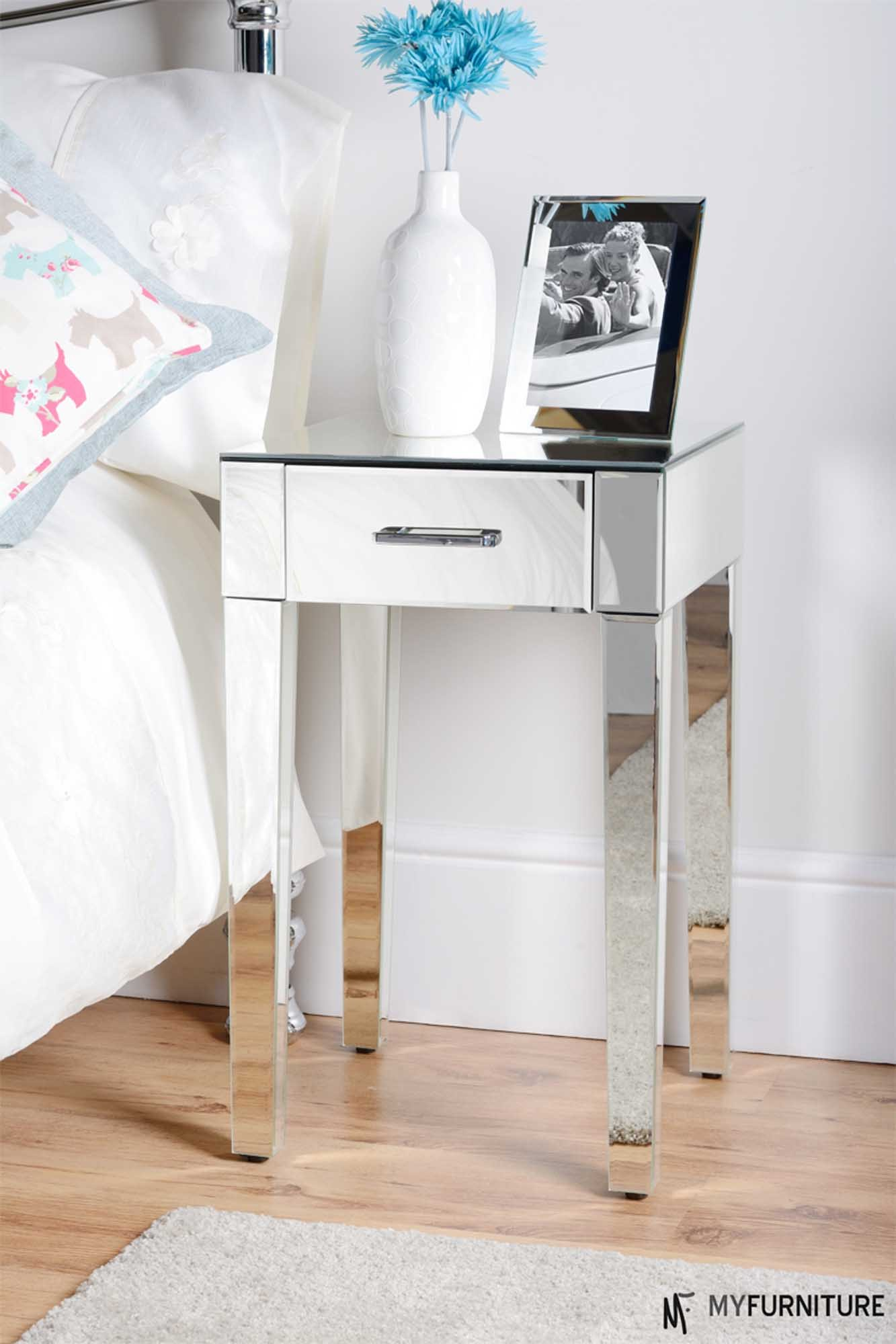 probably fantastic beautiful mirror bedside table mirrored just arrived end glass drawer with drawers side for nightstand western comforters twin headboard ideas white stool red