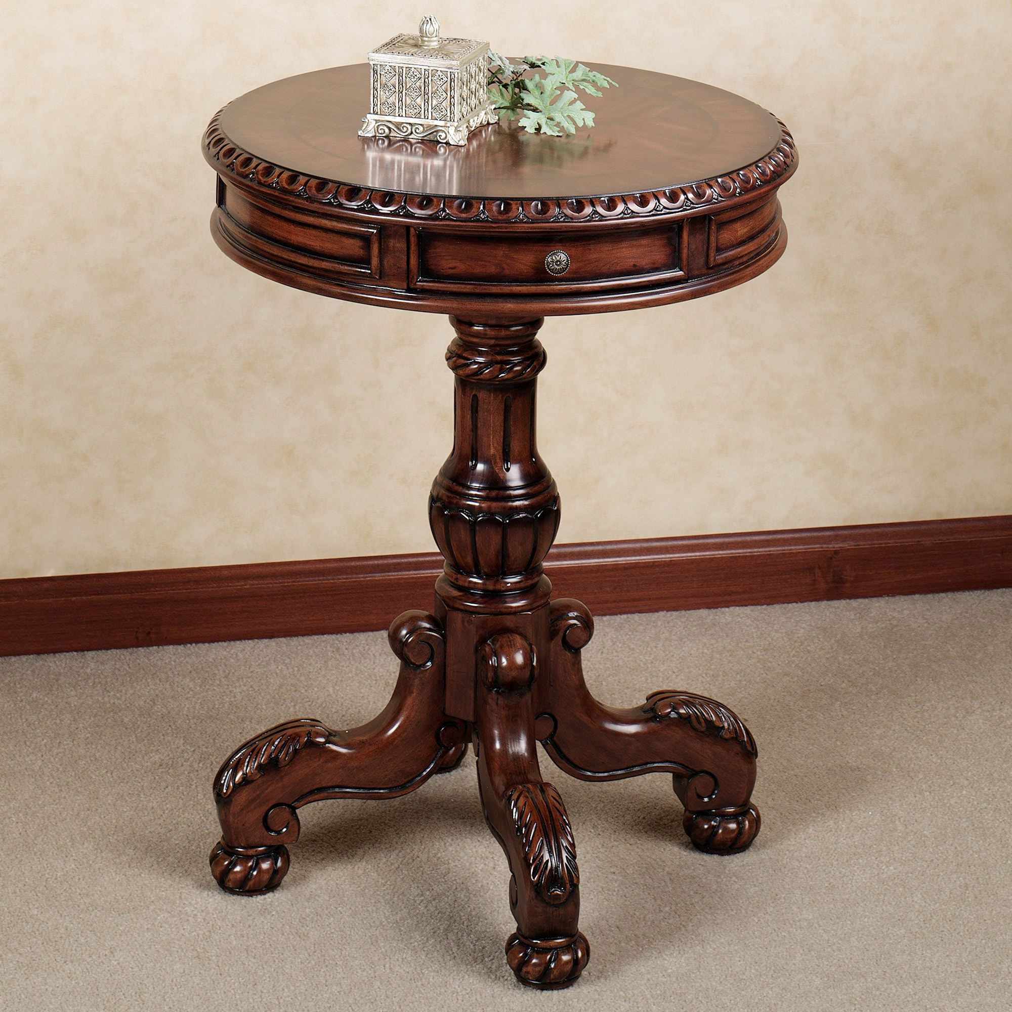 probably fantastic best round end table drawer ture jockboymusic fascinating beside sofa living room featuring white charming design with varnished wooden and ornate pedestal