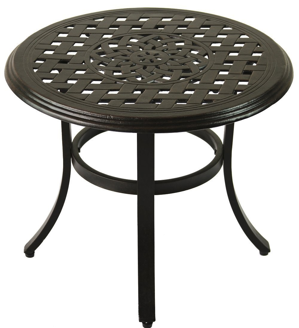 probably fantastic real aluminum patio end table jockboymusic cast series outdoor round antique bronze finish glass top accent tall narrow nightstand iron coffee legs hairpin side