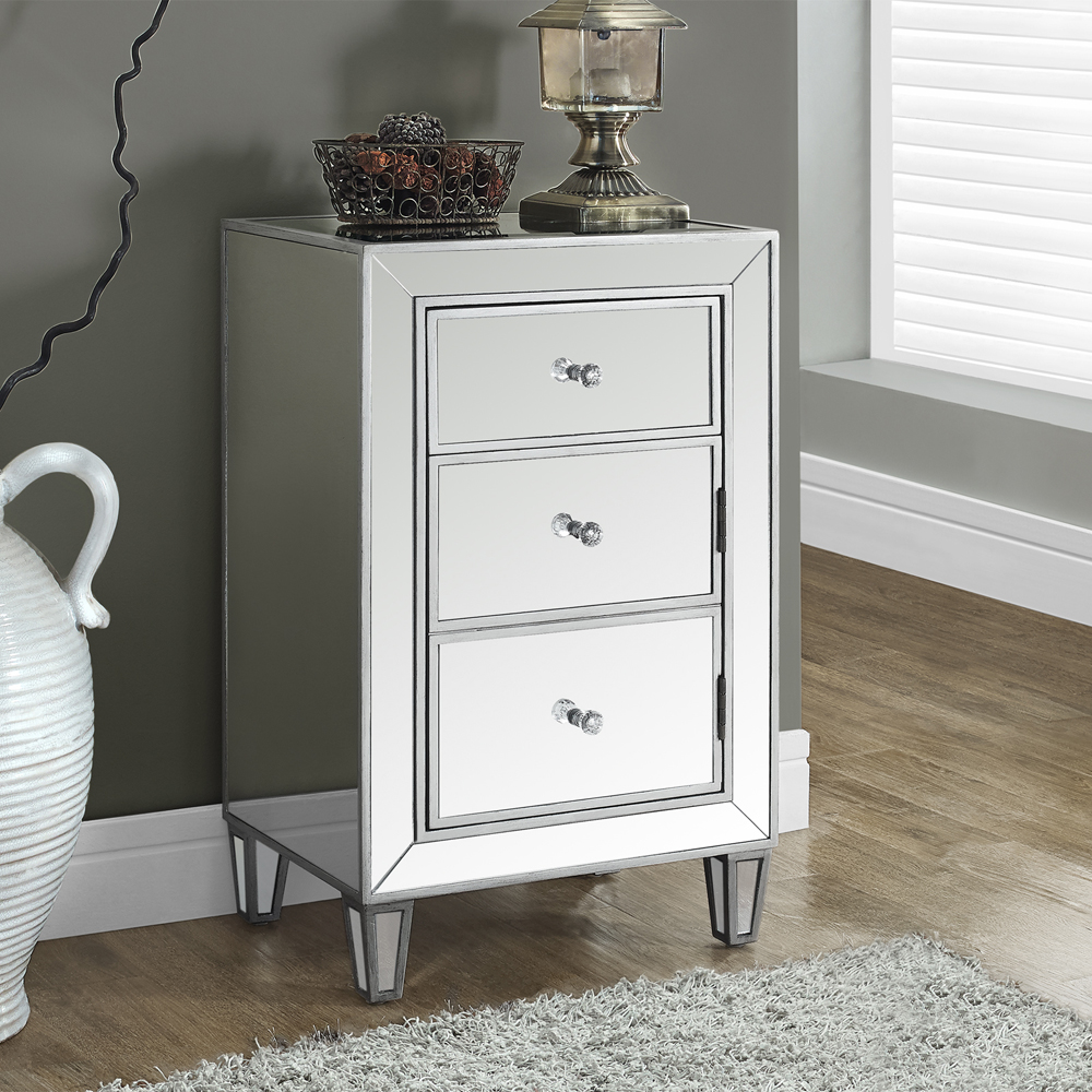 probably outrageous awesome monarch mirrored nightstand drawer captivating end table with tables modern living room brushed silver round and clear crystal houzz nightstands