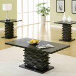 probably outrageous great piece set coffee table end tables rich black finish modern wave design base ethan allen court ashley bedroom collection traditional living room marble 150x150