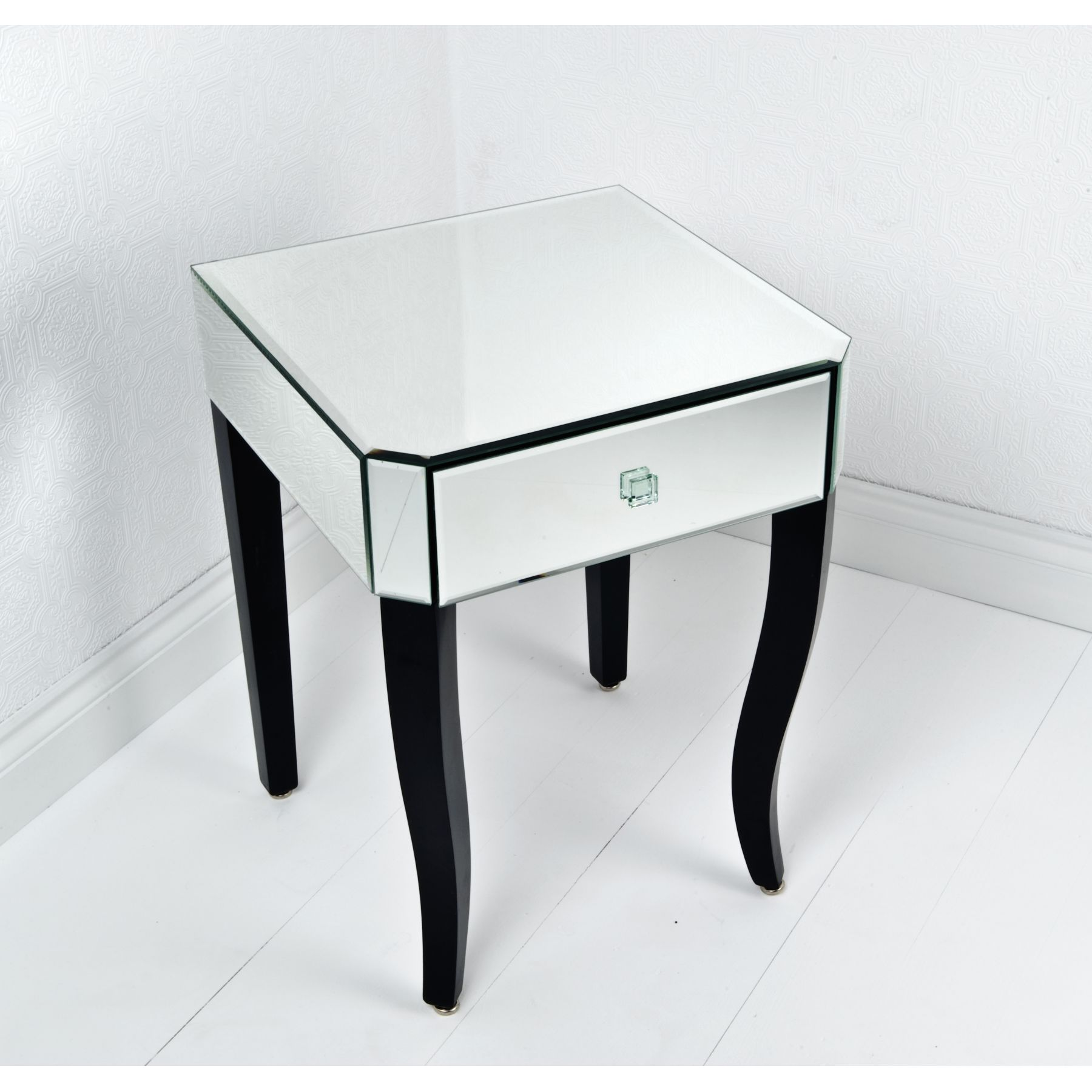 probably outrageous real end table white with dark top mira road modern square mirrored bedside drawer and glass plus furniture wooden legs painted black color ideas round