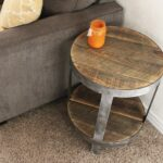 probably perfect awesome reclaimed wood coffee and end tables round side table nightstand handmade vintage baker furniture brown couch pillows with baskets underneath foot 150x150