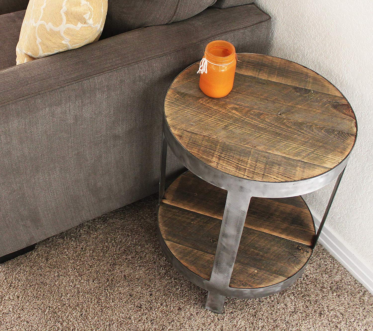 probably perfect awesome reclaimed wood coffee and end tables round side table nightstand handmade vintage baker furniture brown couch pillows with baskets underneath foot
