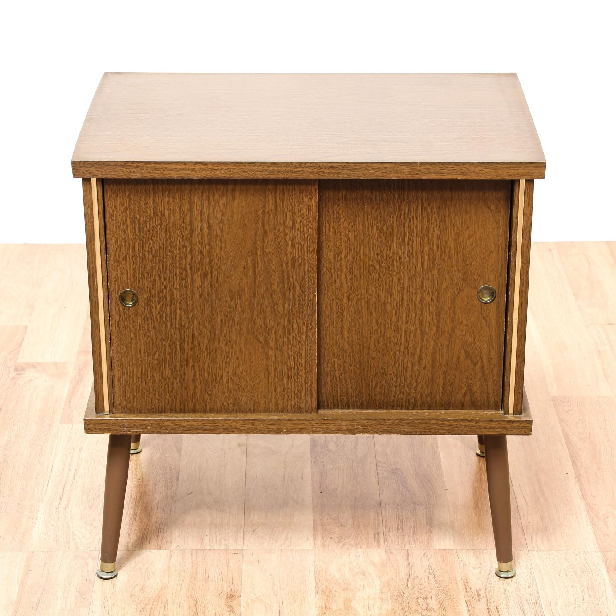 probably terrific awesome end table with storage door ture this featured solid wood glossy walnut finish mid century modern side has sliding cabinet sleek tapered legs kirklands