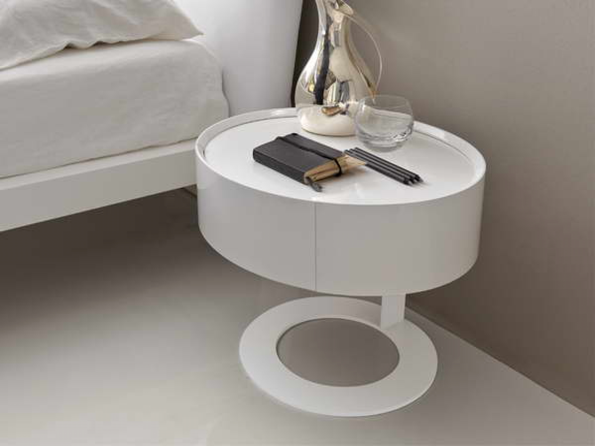 probably terrific great metal circle nightstand ideas hotxpress round white wooden table with base placed the gray interior flooring astonishing side drawer completing your modern