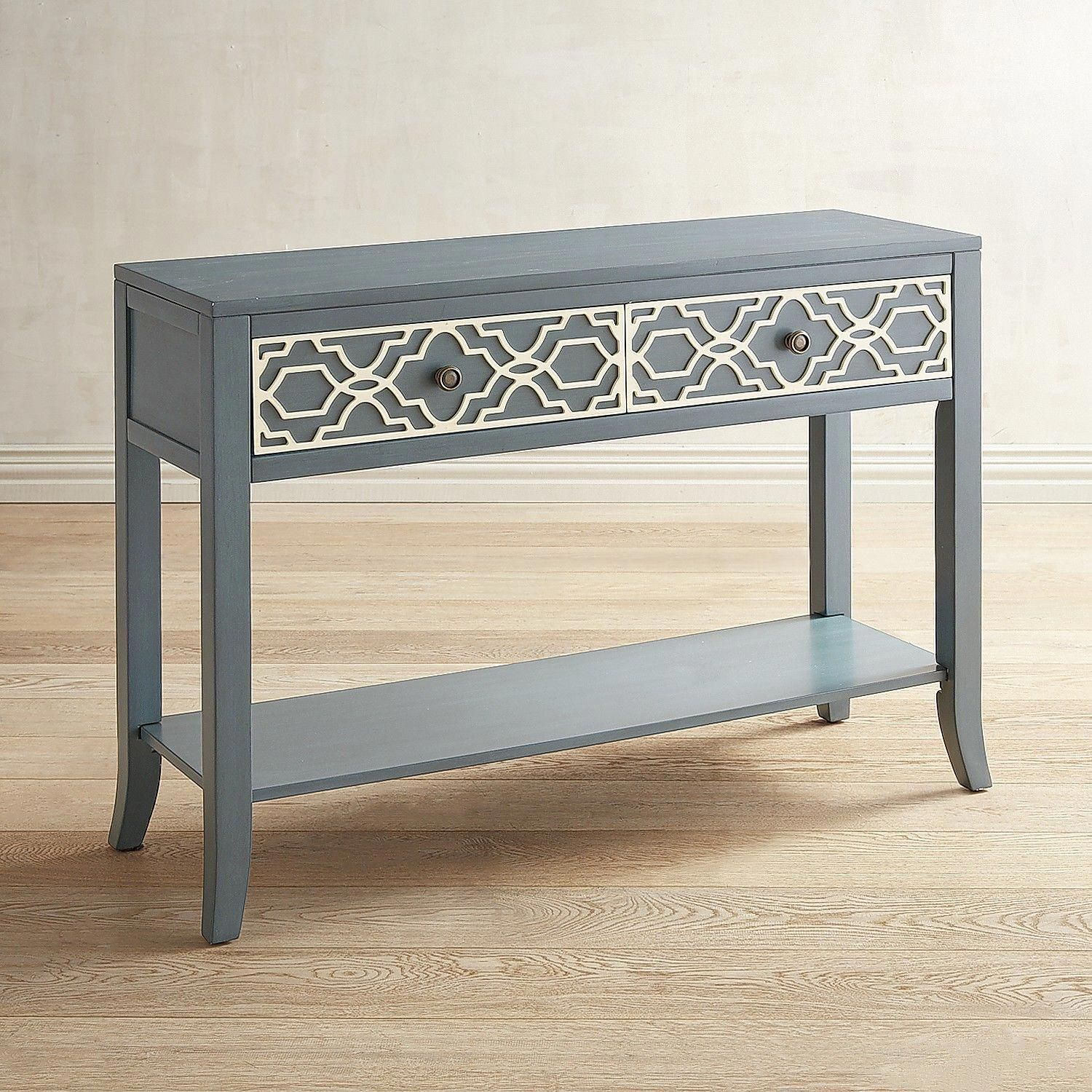pruitt quatrefoil console table pier imports clearancefurniture one anywhere accent bunnings garden settings crystal lamps black wrought iron outdoor coffee bar height dining and