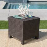 pueblo outdoor dark brown wicker side table garden patio umbrella with base included rod iron black and white decorations monitor stand nic bench modern accent drawer pottery barn 150x150