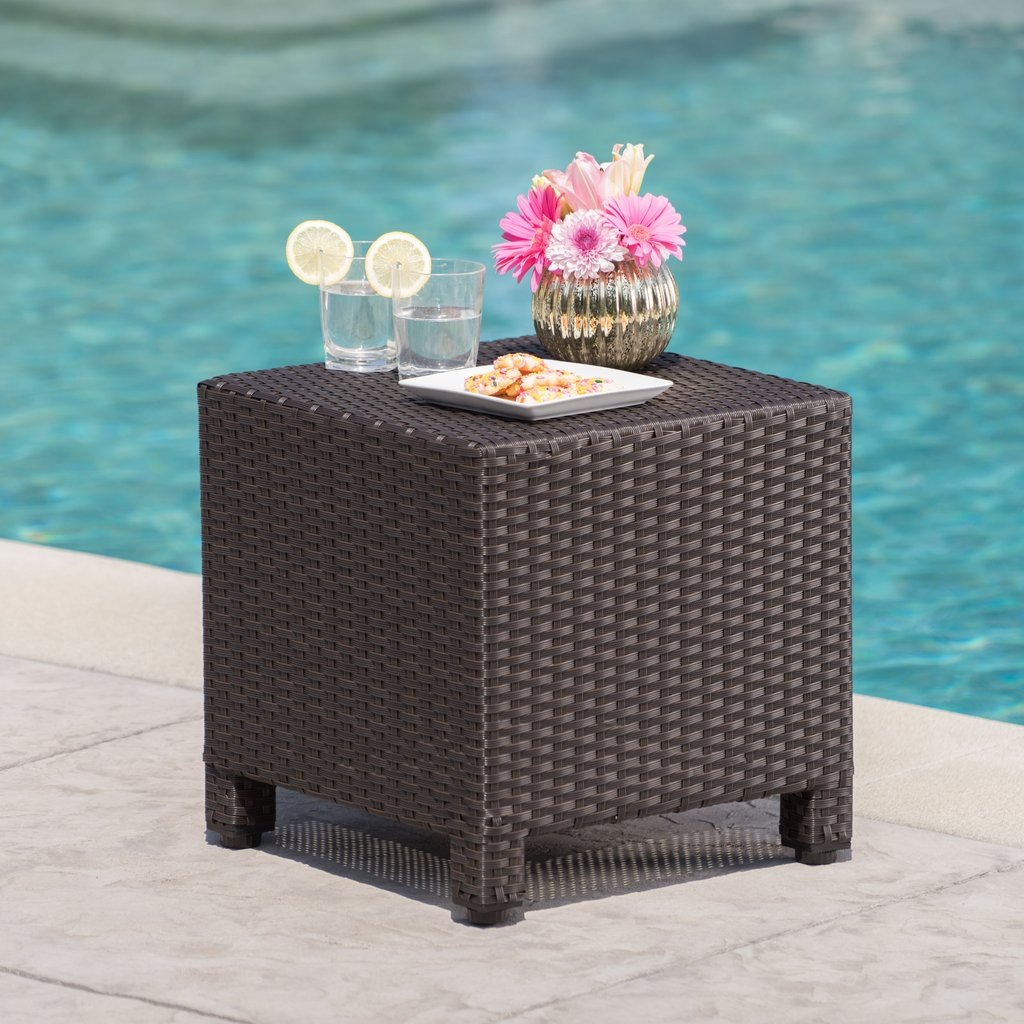 pueblo outdoor dark brown wicker side table gdf studio front porch seating pottery barn furniture slim console with drawers modern accent drawer patio bar sets clearance nic and