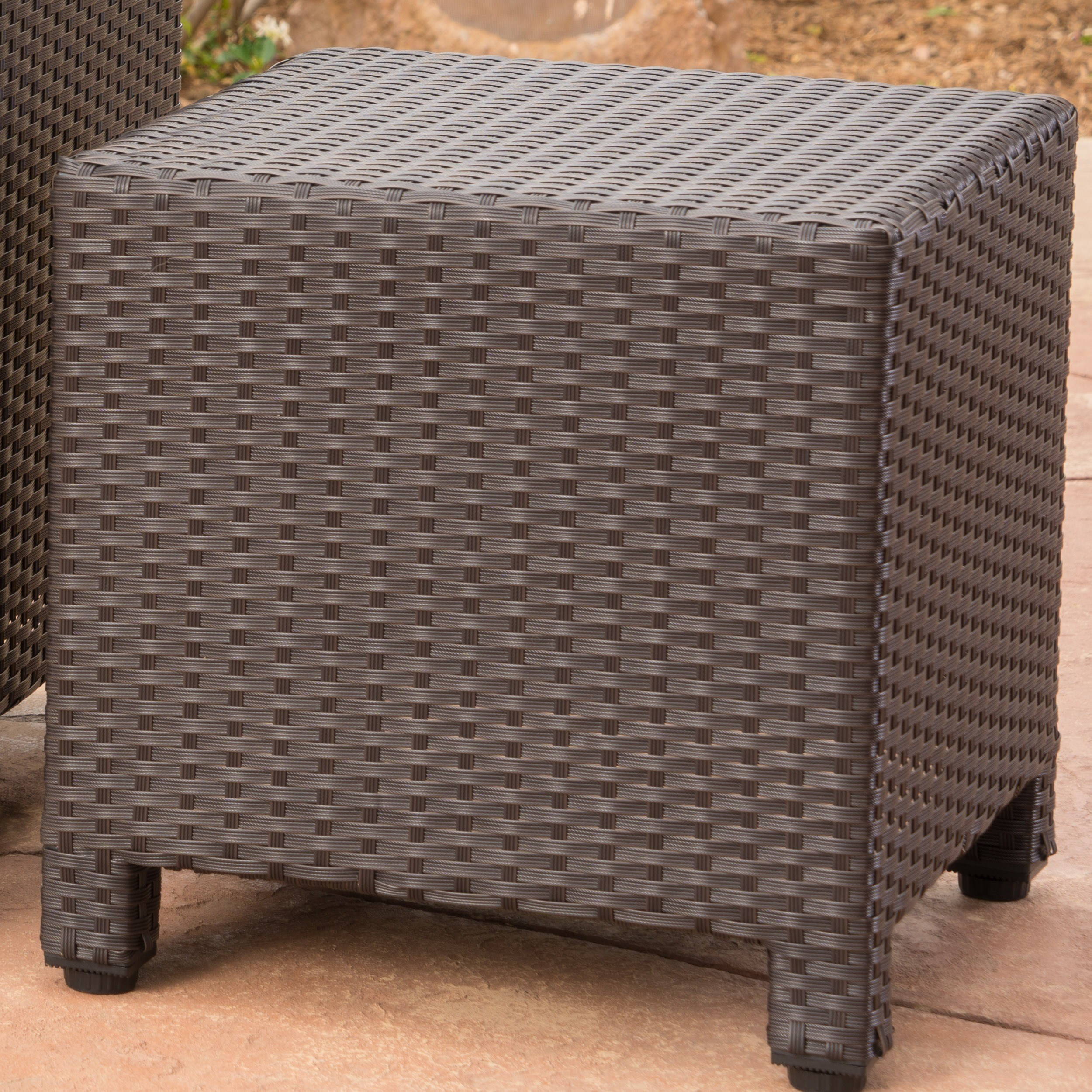 puerta outdoor wicker square accent side table christopher knight home with storage free shipping today vintage tier grey dining room black and white glass lamp tables mosaic