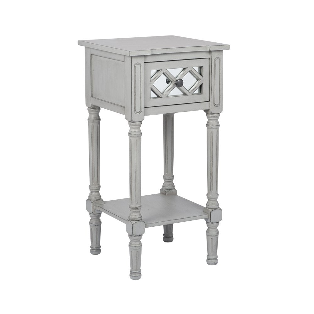 puglia dove grey mirrored pine wood accent table living room from wicker basket end triangle with drawer nursery nightstand metal and glass tables outdoor patio furniture tall