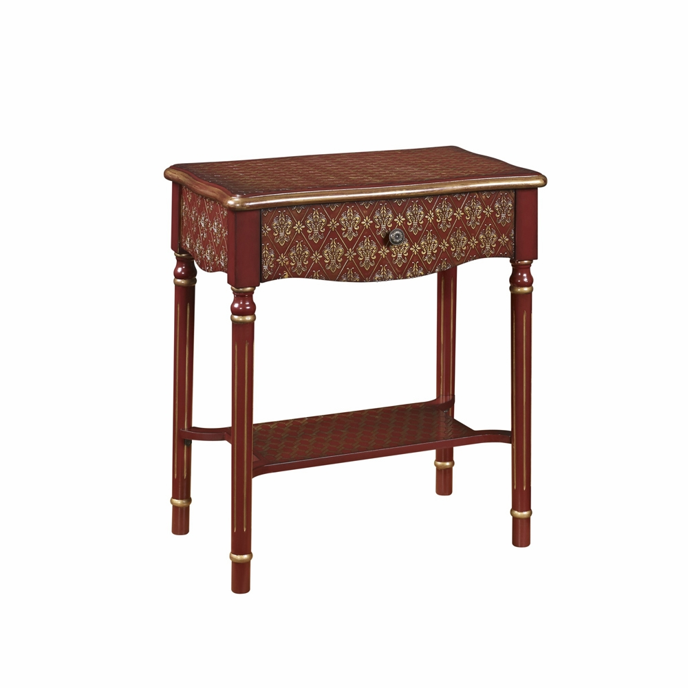pulaski drawer accent table red and gold asian influence with hover zoom bath beyond bar stools antique side shelf beach bedroom decor furniture bellevue vintage round oak home