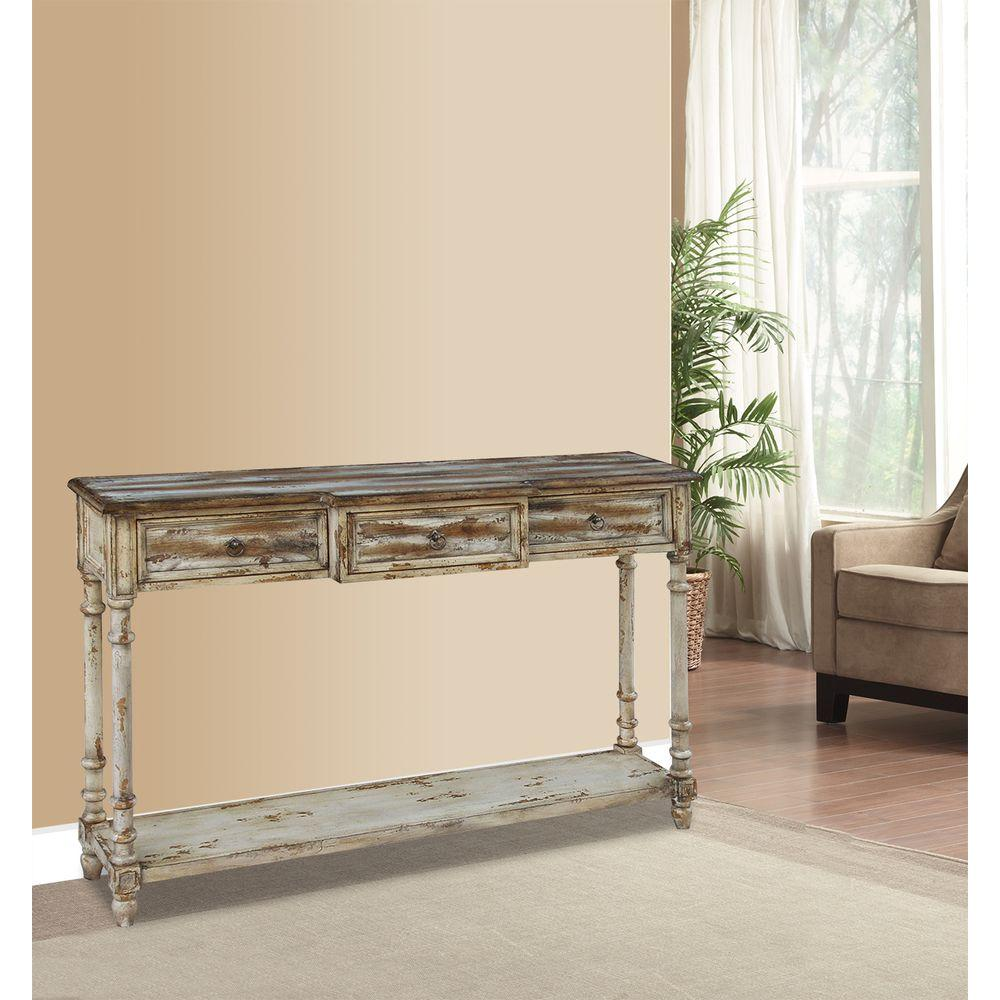 pulaski furniture console tables accent the multi tones distressed ivory juliet finish foremost table target breakfront tone storage contemporary dining set wesley allen beds bags