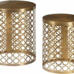 pulaski round perforated metal brass accent table set oak nightstand square outdoor tablecloth pier wicker target wall art west elm arch lamp small cover cardboard inch white drop 150x150