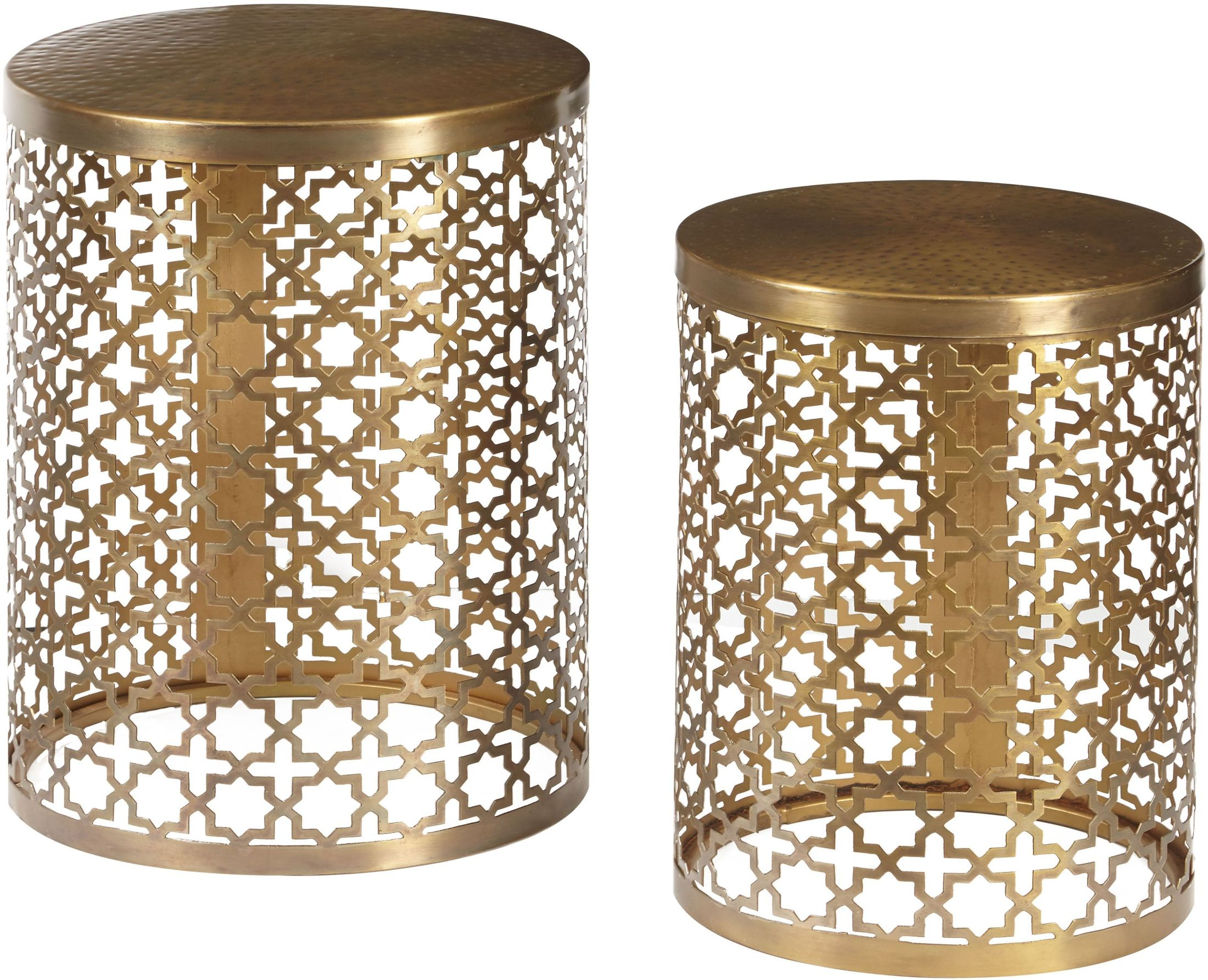 pulaski round perforated metal brass accent table set oak nightstand square outdoor tablecloth pier wicker target wall art west elm arch lamp small cover cardboard inch white drop