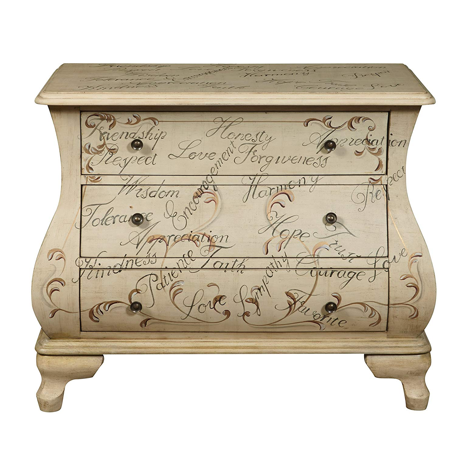 pulaski words encouragement hand painted accent tables chests bombay chest antique white kitchen dining wood living room furniture garden bistro table and chairs bent acrylic