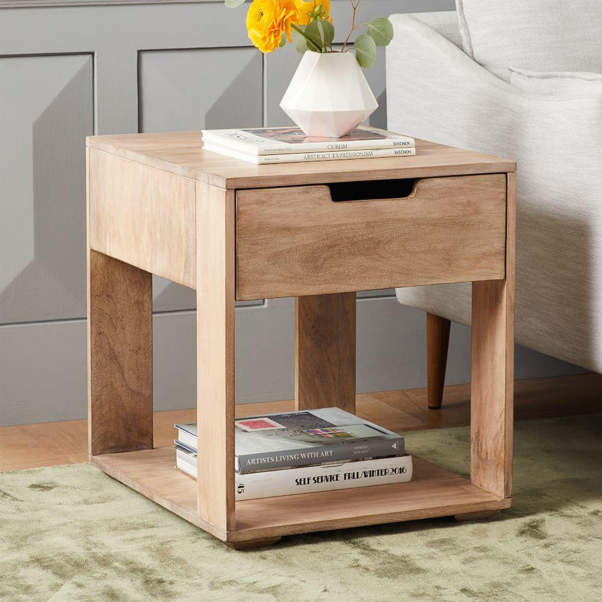 pure storage side table whitewash west elm media accent antique marble top small night lamps space saver oriental wedding linens red wood washer dryer chinese style lamp shades